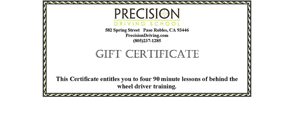 Precision Driving Gift Certificate